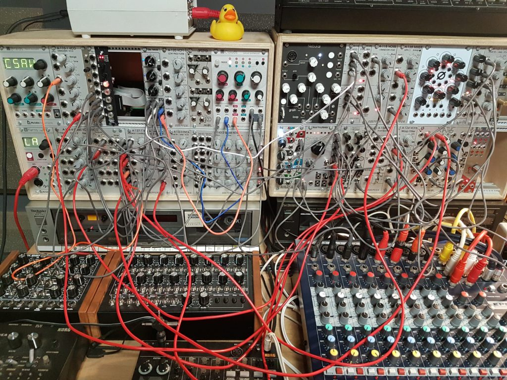 Modular synthesizer patched for sound design demo