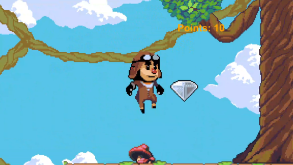 screen grab from a gem runner platform game