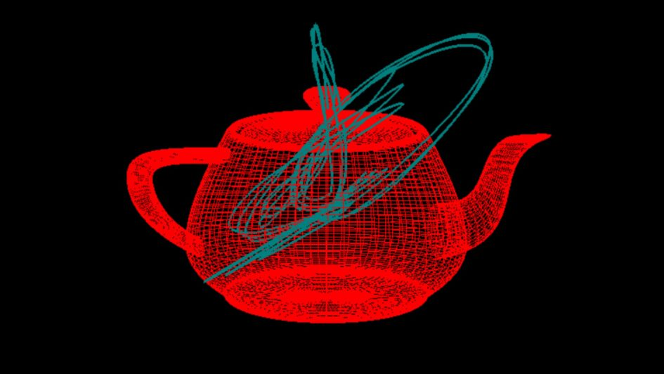 low-poly rendering of a teapot